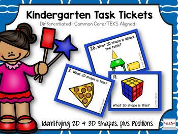 Kindergarten Task Tickets: Math: 2D & 3D Shapes & Positions (Differentiated)