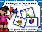 Kindergarten Task Tickets: Math: 2D & 3D Shapes & Position
