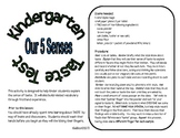 Kindergarten Taste Test - The Five Senses
