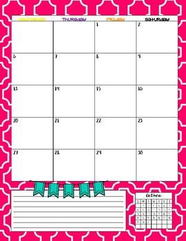 Kindergarten Teacher Binder - Calendar