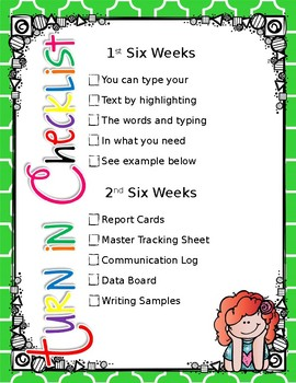 Kindergarten Teacher Binder - Turn in Checklist *Editable*