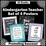 Kindergarten Posters, Back to School Classroom Decor Set of 4 Signs Large