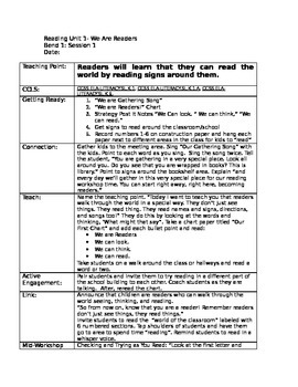 Kindergarten Teacher's College (TC) Reading Lesson Plans Unit 1- We Are Readers