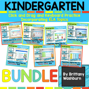 Kindergarten Digital ELA Topics Full Year BUNDLE