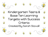 Kindergarten Teens & Base Ten Learning Targets with Success Criteria