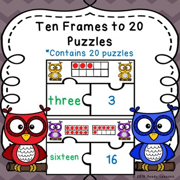 Kindergarten Ten Frames Numbers to 20 Game Puzzles Counting to 20 ...