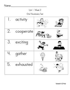 Kindergarten Texas Treasures Oral Vocabulary Tests