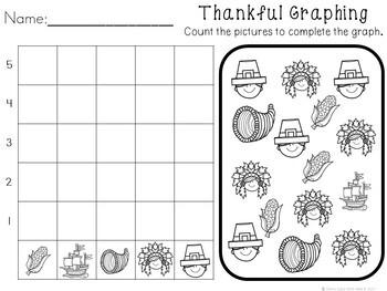 Kindergarten Thanksgiving Activities - Math and Literacy - No Prep