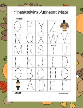 Thanksgiving Activities - Alphabet Tracing Mazes