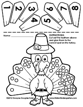 Kindergarten Thanksgiving Cut and Paste Numberlines by Dwayne Kohn