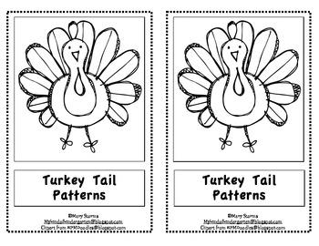 """Kindergarten Thanksgiving Emergent Reader-""""Turkey Tail Patterns"""""""