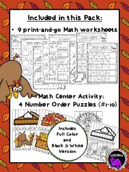 Kindergarten Thanksgiving Fun Pack for ELA and Math