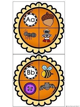 Kindergarten Thanksgiving Literacy Center - Beginning Sound Puzzles