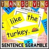 Kindergarten Thanksgiving Literacy Center - Sentence Scramble - I like the...