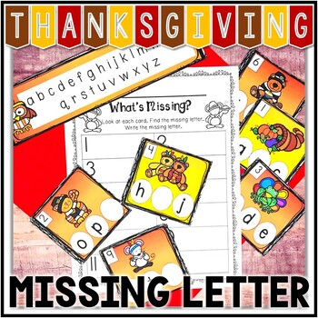 Kindergarten Thanksgiving Literacy Center - What's Missing? - ABC Order