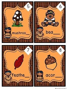 Kindergarten Thanksgiving Literacy Centers- 7 November Reading Center Bundle