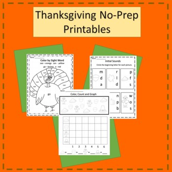 Kindergarten Thanksgiving Literacy and Math Worksheets