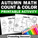 Kindergarten Thanksgiving Math Coloring Worksheets, Count and Color Worksheets