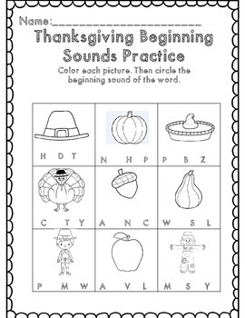 Kindergarten Thanksgiving Math & ELA Common Core Packet