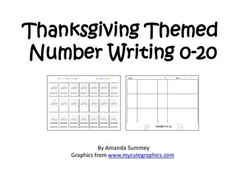 Kindergarten - Thanksgiving Themed - Writing Numbers 0-20