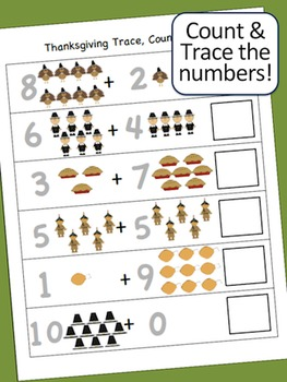 Thanksgiving Activities - Math - Count, Trace, & Write Practice Sheets