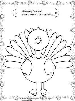 Kindergarten Thanksgiving Turkey Printable Activity Worksheet