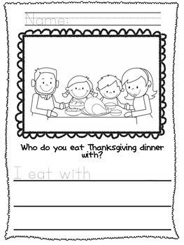 Kindergarten Thanksgiving Writing -No Prep!- Journal - Writing Workshop - Center
