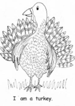 Kindergarten Thanksgiving printable book Emergent Reader