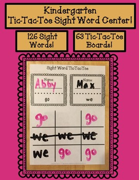 Kindergarten Tic-Tac-Toe Sight Word Centers!