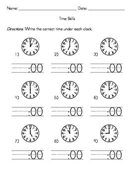 Kindergarten Time Skills Worksheets