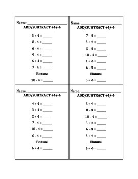 Kindergarten Timed Addition/Subtraction Test Cards Common Core Standard K.OA.5