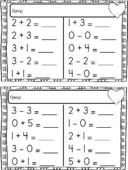 Kindergarten Timed Mixed Add/Subtraction Test