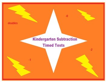 Kindergarten Timed Tests- Beginning Subtraction
