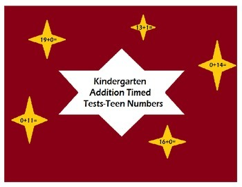 Kindergarten Timed Tests-Intermediate Addition (Teens)