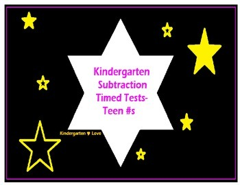 Kindergarten Timed Tests- Intermediate Subtraction (Teens)