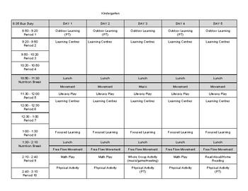 Kindergarten Timetable (Balanced Day)
