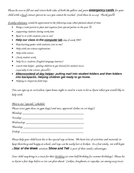 Kindergarten Top 10 Beginning of Year Family Letter