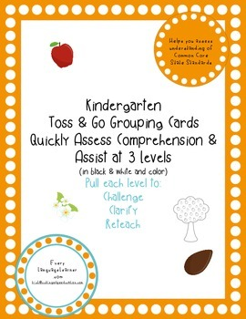 Kindergarten  Toss & Go Grouping Cards Quickly Assess Comprehension & Assist