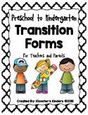 Kindergarten Transition Forms for Parents and Teachers - Round-Up / Enrollment