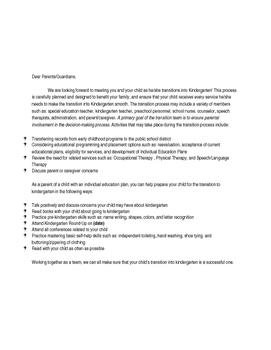 Kindergarten Transition Parent Letter