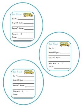 Kindergarten Transportation and Classroom Student Badges