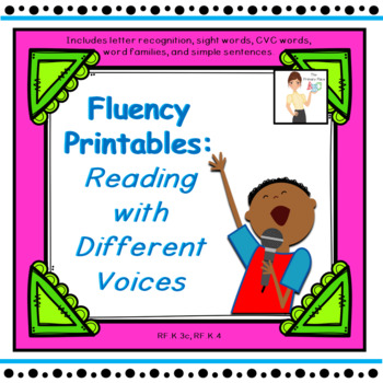 Kindergarten Treasures Fluency: Reading with Different Voices Printables