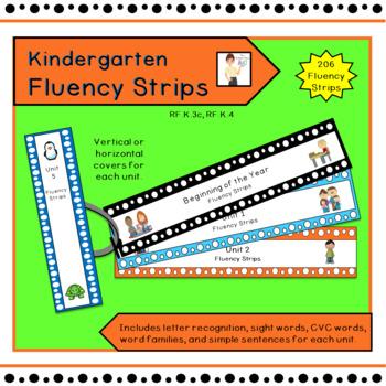 Kindergarten Treasures Fluency Strips for Units 1 - 10