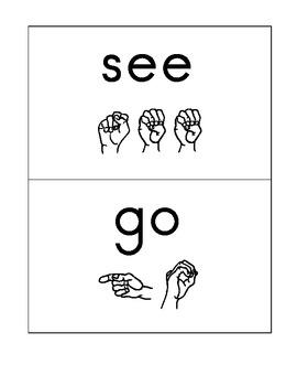 Kindergarten Treasures High Frequency Words with ASL