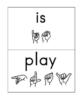 Kindergarten Treasures High Frequency Words with ASL