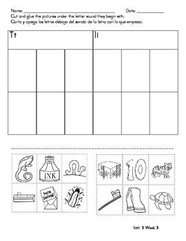 Kindergarten Treasures Homework Unit 3 Wk 3