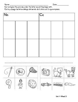 Kindergarten Treasures Homework Unit 4 Wk 3