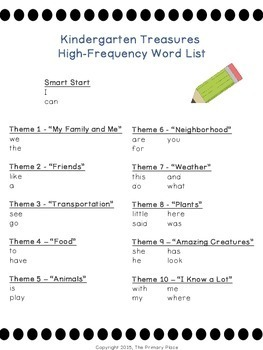 Kindergarten Treasures Reading Program High-Frequency Word Cards