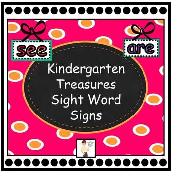 Kindergarten Treasures Sight Word Signs