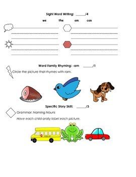 Kindergarten Treasures Unit 1 Pre/Post Assessment